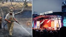 Revellers flee popular Falls Festival amid extreme bushfire threat