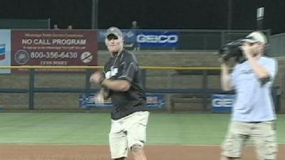 Brett Favre Throws Out The First Pitch At C-USA Tournament