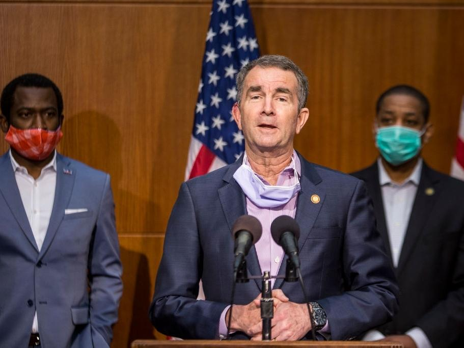 Virginia Gov. Ralph Northam (D) speaks during a news conference on June 4, 2020 in Richmond, Virginia. His poll numbers for handling the coronavirus pandemic have plunged.