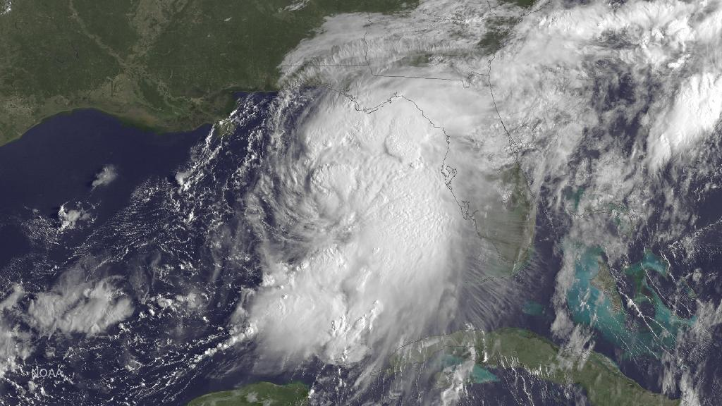 Tropical Storm Hermine is seen gathering strength in the Gulf of Mexico on September 1, 2016