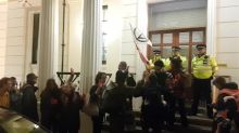 Extinction Rebellion protesters attempt to hand themselves in at Charing Cross police station
