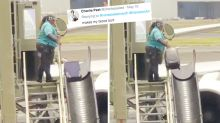 Outrage over rough baggage handler