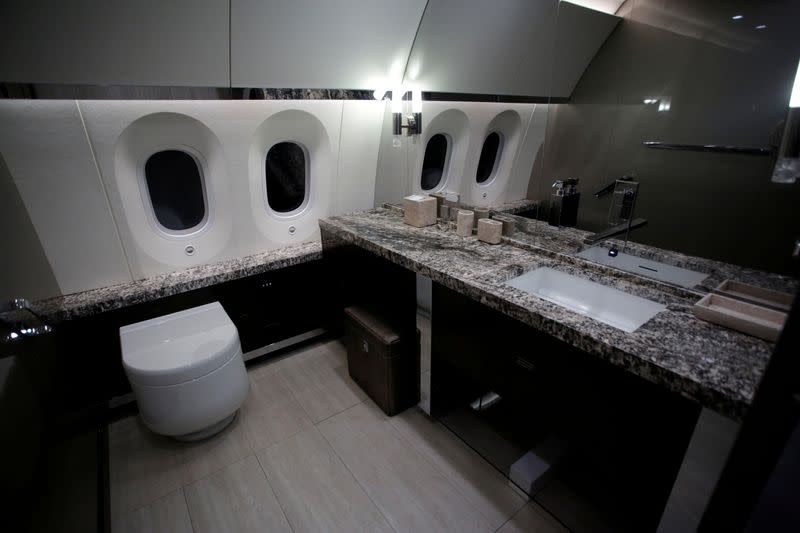FILE PHOTO: A bathroom of the Mexican Air Force Presidential Boeing 787-8 Dreamliner is pictured during a media tour before is put up for sale by Mexico's new President, at Benito Juarez International Airport in Mexico City