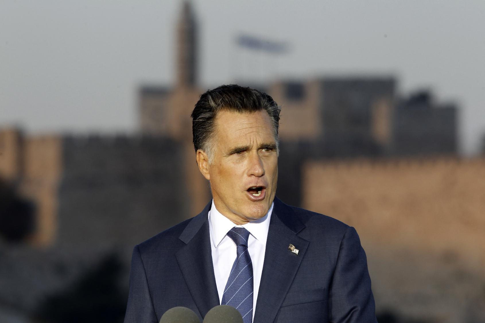 Republican presidential candidate and former Massachusetts Gov. Mitt Romney delivers a speech in Jerusalem, Sunday, July 29, 2012. (AP Photo/Charles Dharapak)