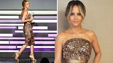 Halle Berry, 52, defies her age in gold strapless dress at CDGAs