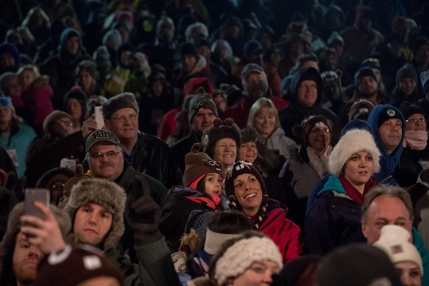 <p>The crowd gathers during the Groundhog Day festivities, where Punxsutawney Phil saw his shadow, predicting six more weeks of winter during 131st annual Groundhog Day festivities on Feb. 2, 2017, in Punxsutawney, Pa. (Jeff Swensen/Getty Images) </p>