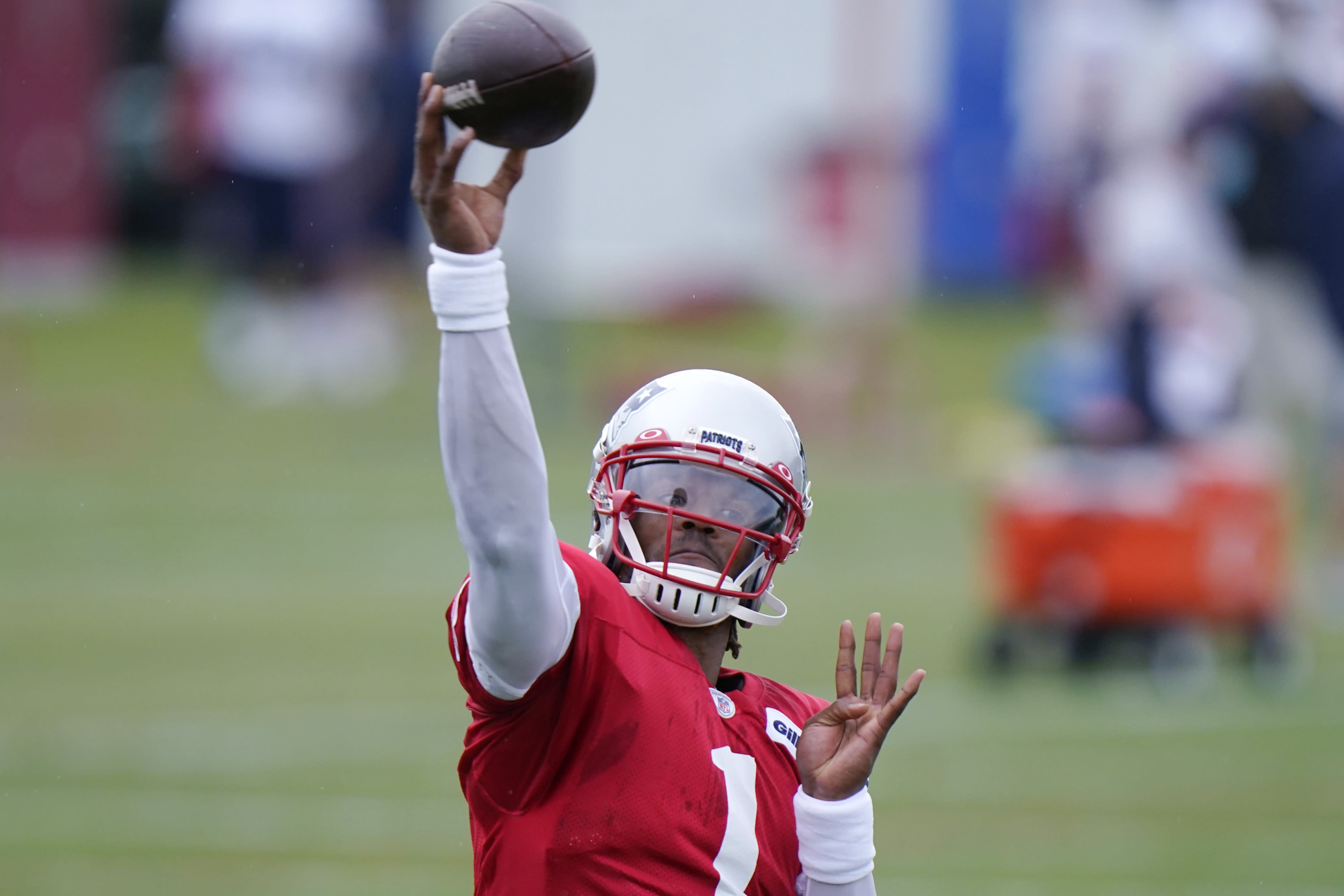 New England Patriots quarterback Cam Newton (1) throws a pass during an NFL football training camp practice, Thursday Aug. 27, 2020 in Foxborough, Mass. (AP Photo/Steven Senne, Pool)