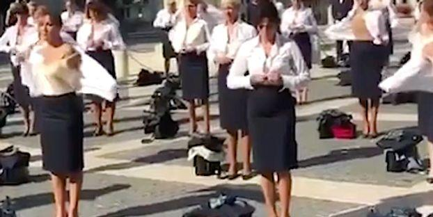 Ex-Alitalia Flight Attendants Strip In Labor Protest