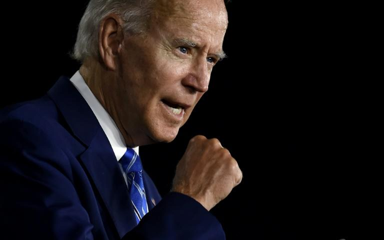 Former Vice President Joe Biden, the presumptive Democratic candidate for president, is seen speaking on July 15, 2020 at an event in Wilmington, Delaware (AFP Photo/Olivier DOULIERY)