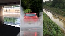 Torrential rain floods train tracks and causes motorways sinkholes (and there's more to come)