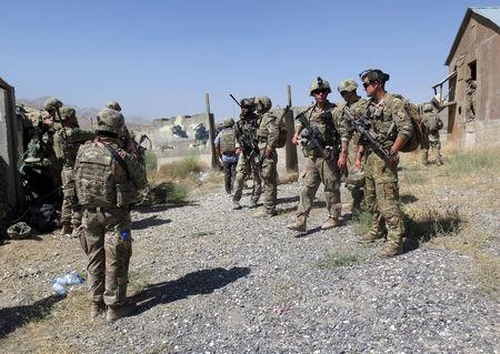 U.S. military advisers from the 1st Security Force Assistance Brigade are seen at an Afghan National Army base in Maidan Wardak province, Afghanistan August 6, 2018. REUTERS/James Mackenzie