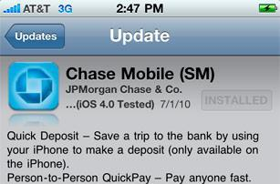 Chase Mobile iPhone app update: picture your paycheck deposited, and it's there