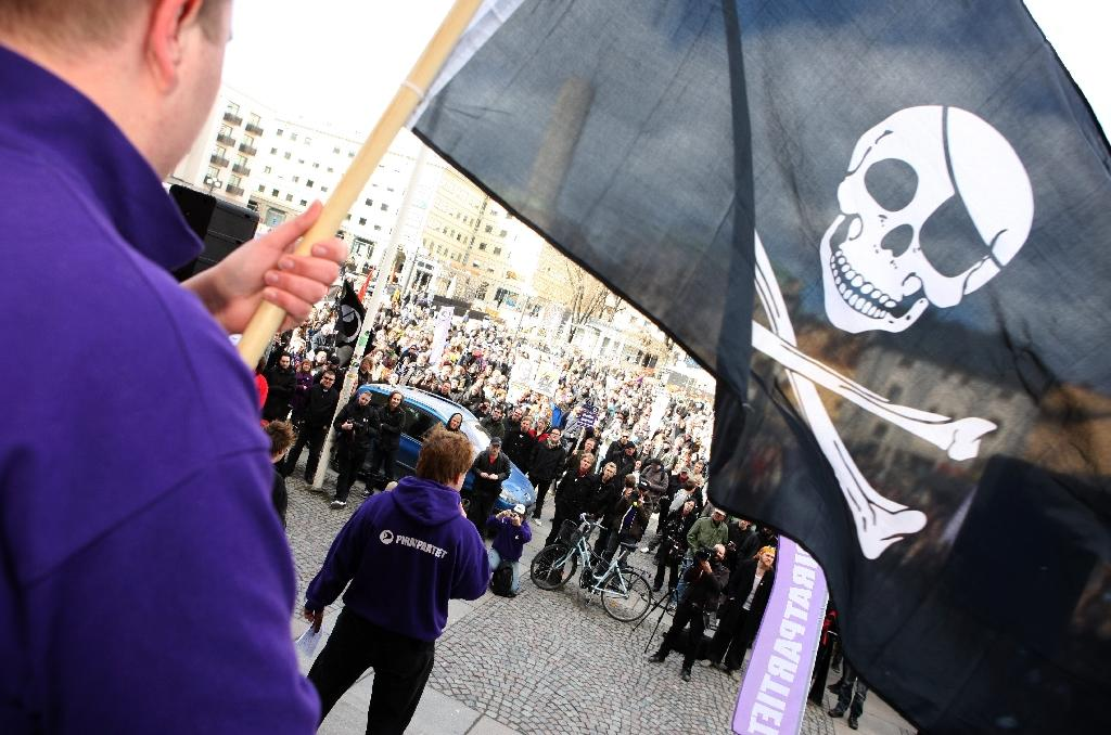 Supporters of the web site 'The Pirate Bay', one of the world's top illegal filesharing websites, demonstrate in Stockholm, on April 18, 2009 (AFP Photo/Fredrik Persson)