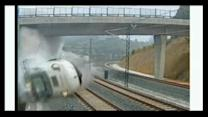 Raw video of deadly train wreck in Spain
