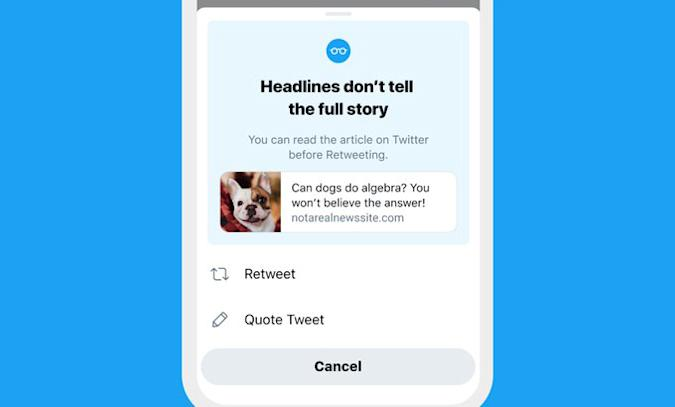 Twitter will prompt users to read articles before retweeting them.