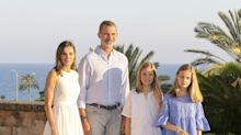 Queen Letizia of Spain Chooses a White Hugo Boss Dress and $140 Shoes for the Royal Family's Summer Portrait