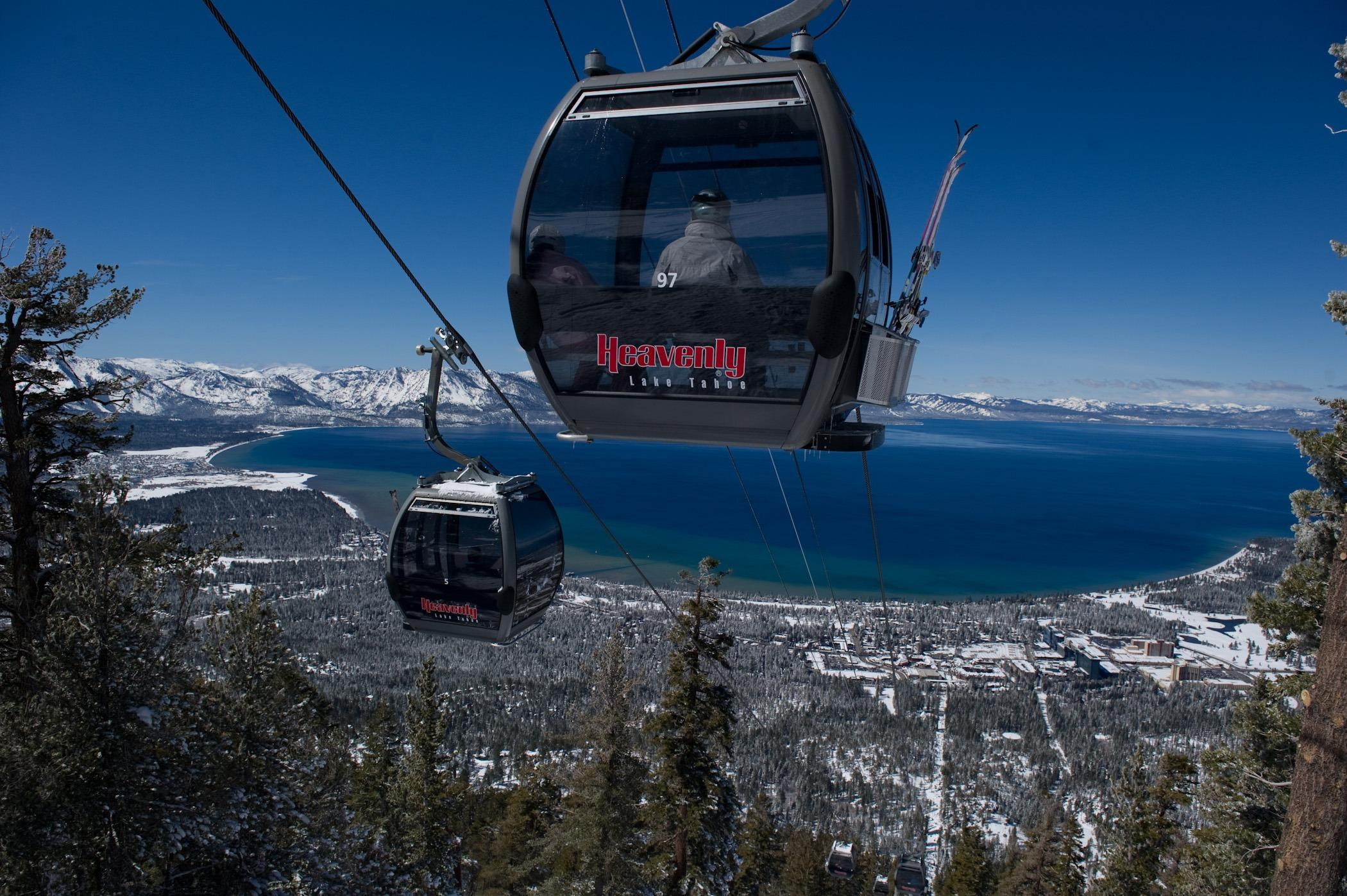 "Cable cars overlooking Lake Tahoe in <a href=""http://travelnevada.com/"" target=""_blank"">Nevada</a>, USA."