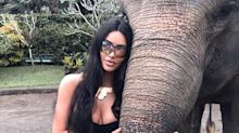 Kim Kardashian slammed for posing with elephants in Bali: 'What kind of sanctuary lets humans sit on the elephants?'