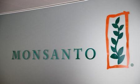 FILE PHOTO: A Monsanto logo is pictured in the company headquarters in Morges, Switzerland, May 25, 2016. REUTERS/Denis Balibouse/File Photo - RC1882630CC0