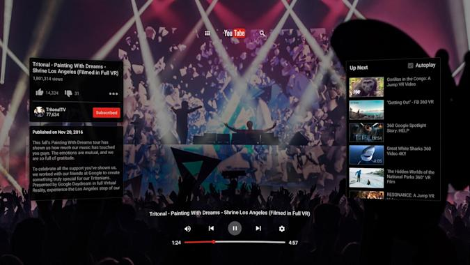 YouTube's new VR app lands on Google Daydream first