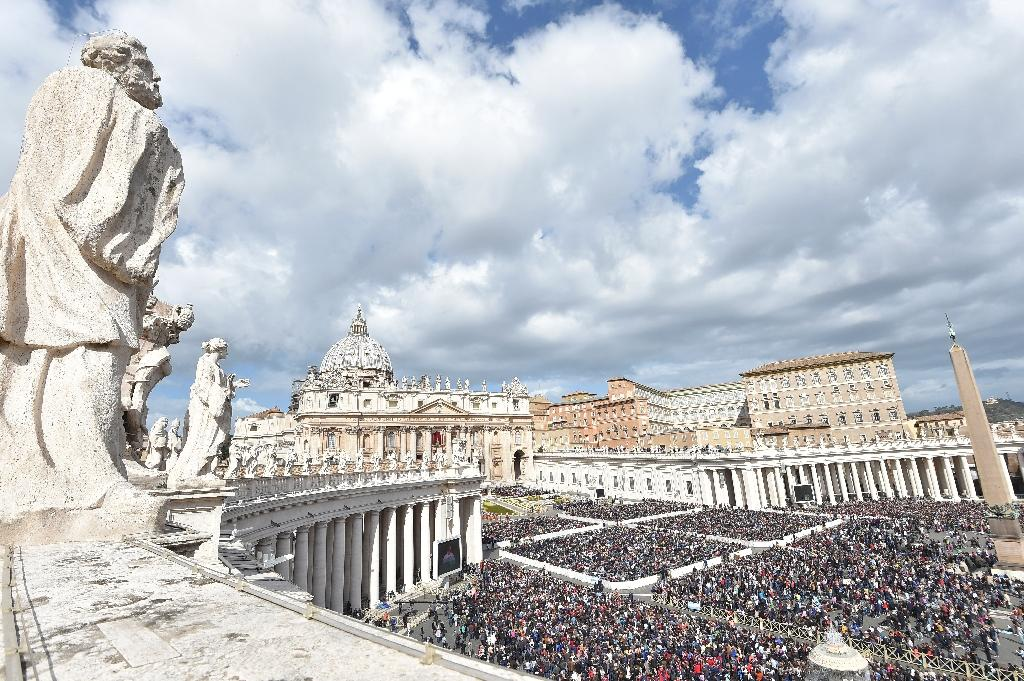 Access to St Peter's Square for the mass on the holiest day in the Christian calendar was tightly controlled (AFP Photo/Andreas SOLARO)
