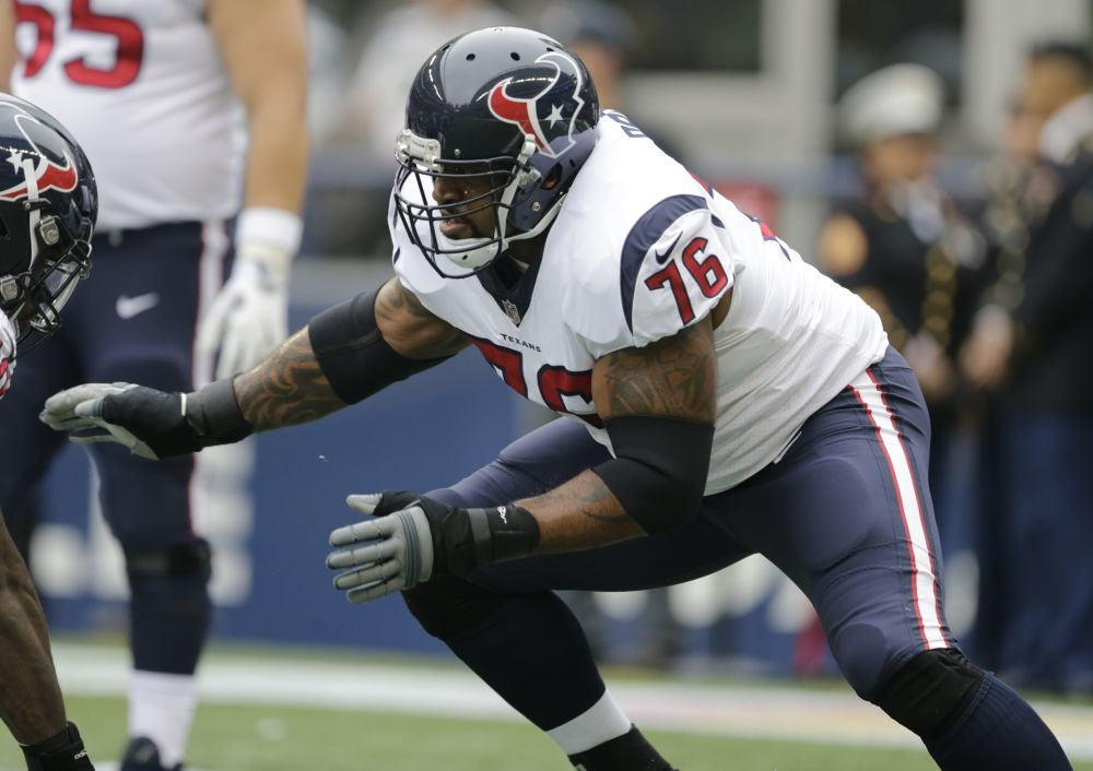 Offensive tackle Duane Brown was traded from Houston to Seattle before the NFL's trade deadline. (AP)