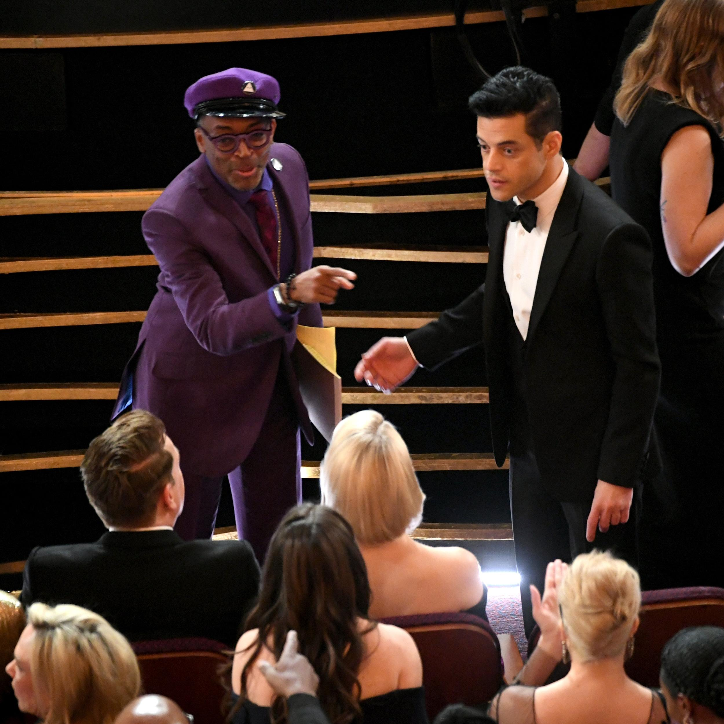 HOLLYWOOD, CALIFORNIA - FEBRUARY 24: (EDITORS NOTE: Retransmission with alternate crop.) (L-R) Spike Lee and Rami Malek attend the 91st Annual Academy Awards at Dolby Theatre on February 24, 2019 in Hollywood, California. (Photo by Kevin Winter/Getty Images)