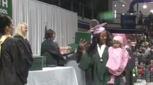 Teen moms graduate from high school with their kids cheering them on: 'Your mommy did it!'
