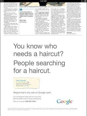 Google runs newspaper ad for Google ads, universe has yet to implode