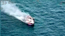Dramatic footage shows huge fire which sank fishing boat off UK coast