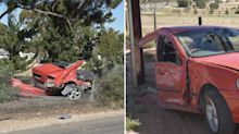 Driver arrested after car ripped in half in horrifying crash