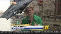 Can someone get Caitlin Knute an umbrella?