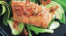 Sesame-spiced salmon with snowpea salad