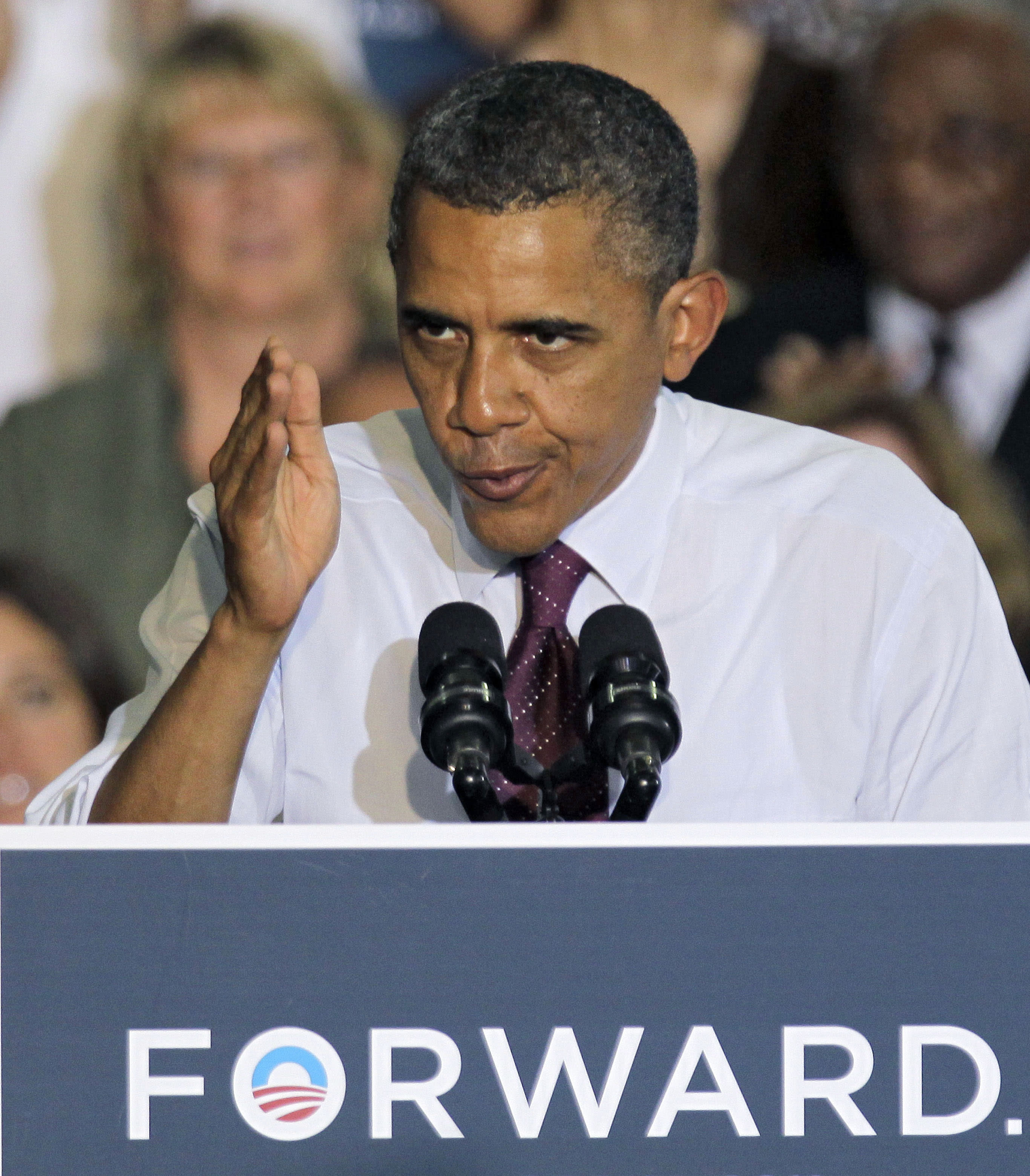 President Obama gestures during a grassroots campaign speech Friday, June 22, 2012, at Hillsborough Community College in Tampa, Fla. (AP Photo/Chris O'Meara)
