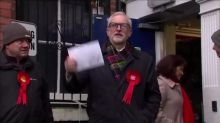 British opposition leader Jeremy Corbyn casts his vote in general election