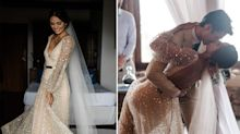A bride wore a gold wedding dress with a plunging neckline that was covered in head-to-toe sparkles