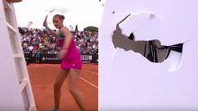 Tennis star destroys umpire's chair in huge meltdown