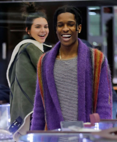 Kendall Jenner and rumored bf A$AP Rocky (ASAP) go jewelry shopping looking at�engagement�rings, necklaces, and grills at a midtown jewelry store in New York