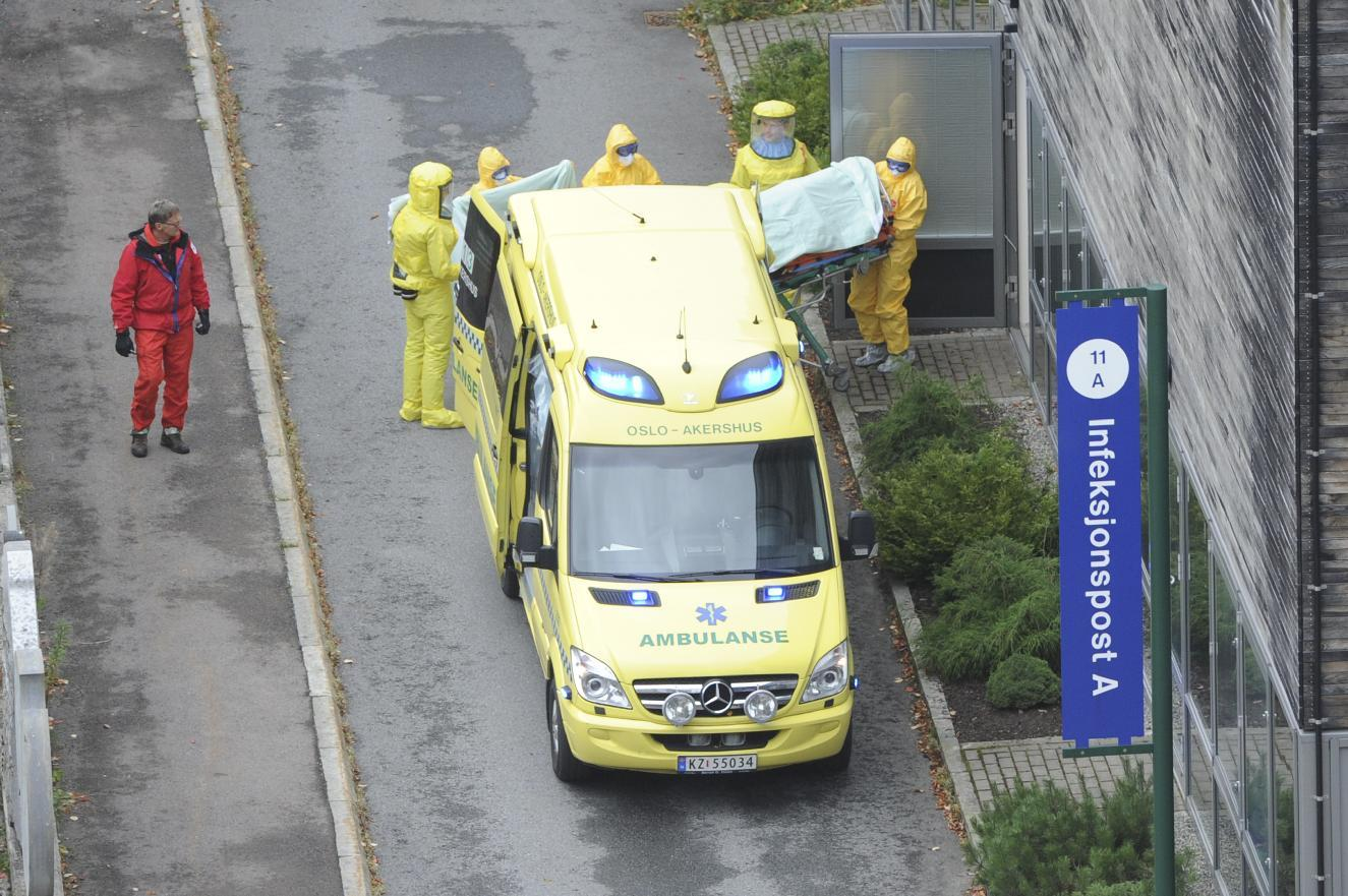 The first Norwegian patient infected with the Ebola virus arrives at the Oslo University Hospital on October 7, 2014