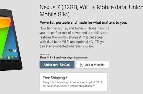 New Nexus 7 32GB with LTE now available on Google Play in the US for $349