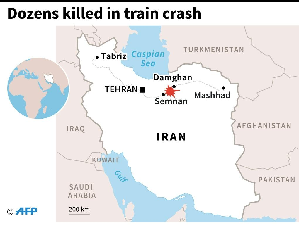 Map showing location of the deadly train crash in Iran (AFP Photo/Jonathan Storey)