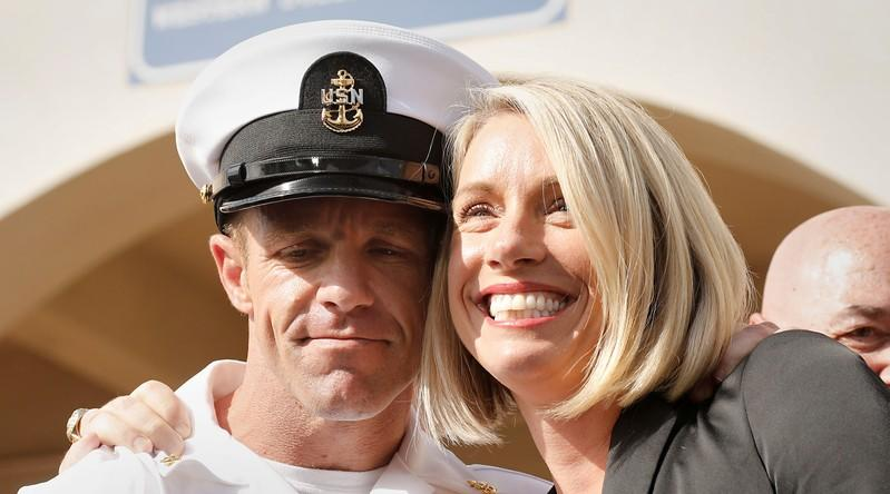 FILE PHOTO: U.S. Navy SEAL Special Operations Chief Edward Gallagher, with wife Andrea Gallagher, celebrate