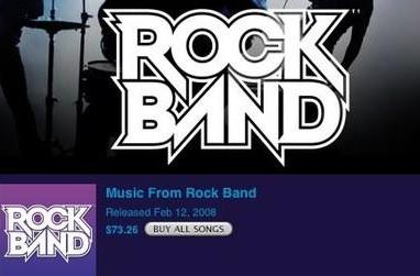 iTunes compiles Rock Band tracks