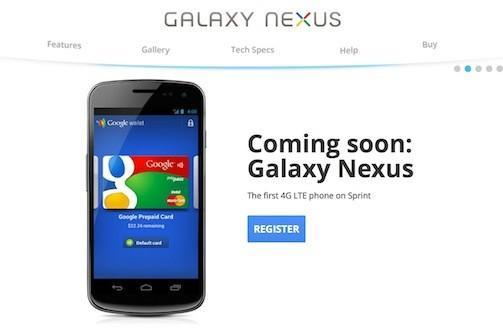 Sprint Galaxy Nexus registration page gets served up by Google