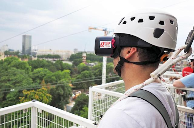 Ziplining and VR headsets make a weird couple