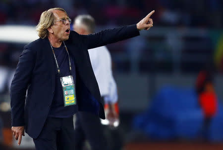 Congo's head coach Claude Le Roy of France reacts during their Group A soccer match against Gabon in the African Cup of Nations in Bata