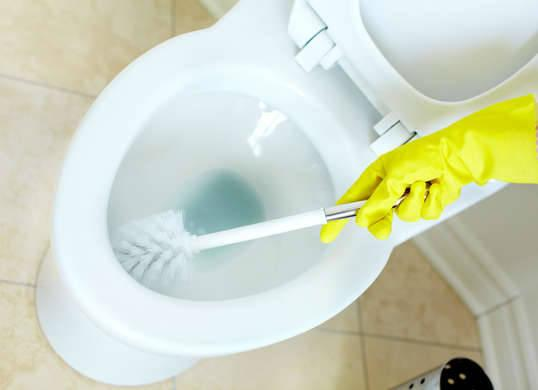 2. Banish Bowl Residue A pair of Alka-Seltzer tablets can fizzle away tough toilet bowl stains. Drop in the tablets, wait 20 to 30 minutes, give the bowl a quick once-over with a toilet brush, and flush. Stains will disappear, and the toilet will be left clean and deodorized. Photo: fotosearch.com RELATED: 8 Unusual Tips for Your Cleanest Bathroom Ever