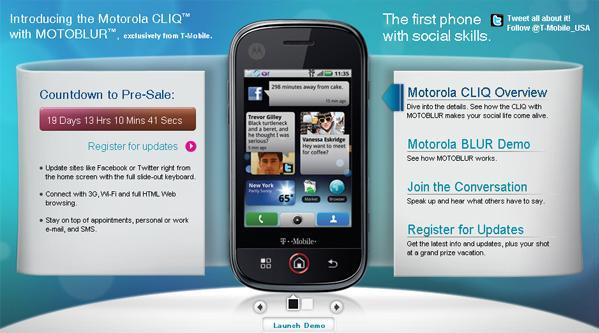T-Mobile's Motorola CLIQ presale countdown page is up and running