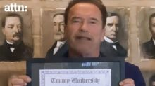 Arnold Schwarzenegger mocks his Trump University honorary degree in virtual commencement address
