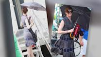 Anne Hathaway Narrowly Avoids a Wardrobe Malfunction on Film Set